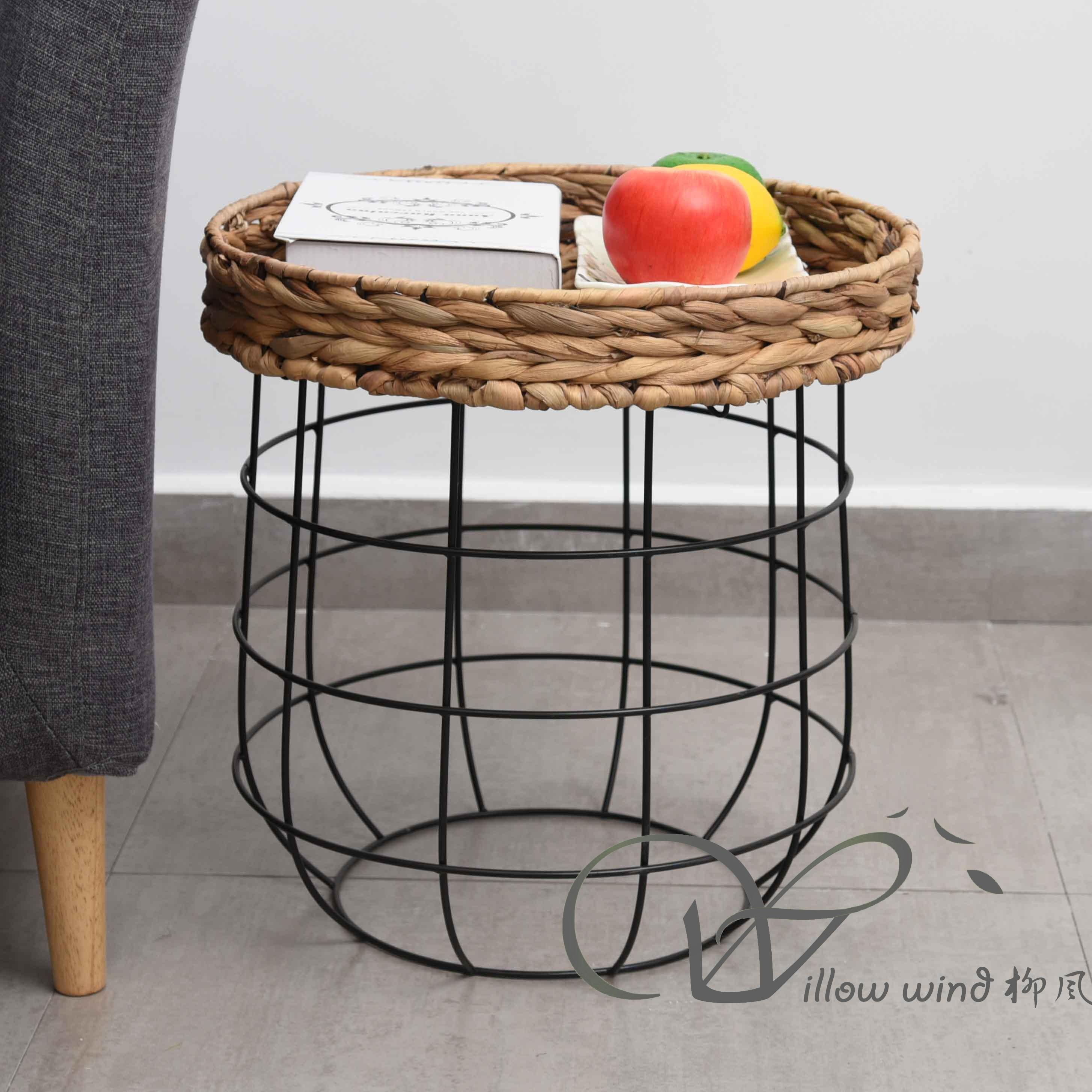 3 Pack Round End Table Water Hyacinth top Coffee table Bed Side Table with Wrought Iron Support f