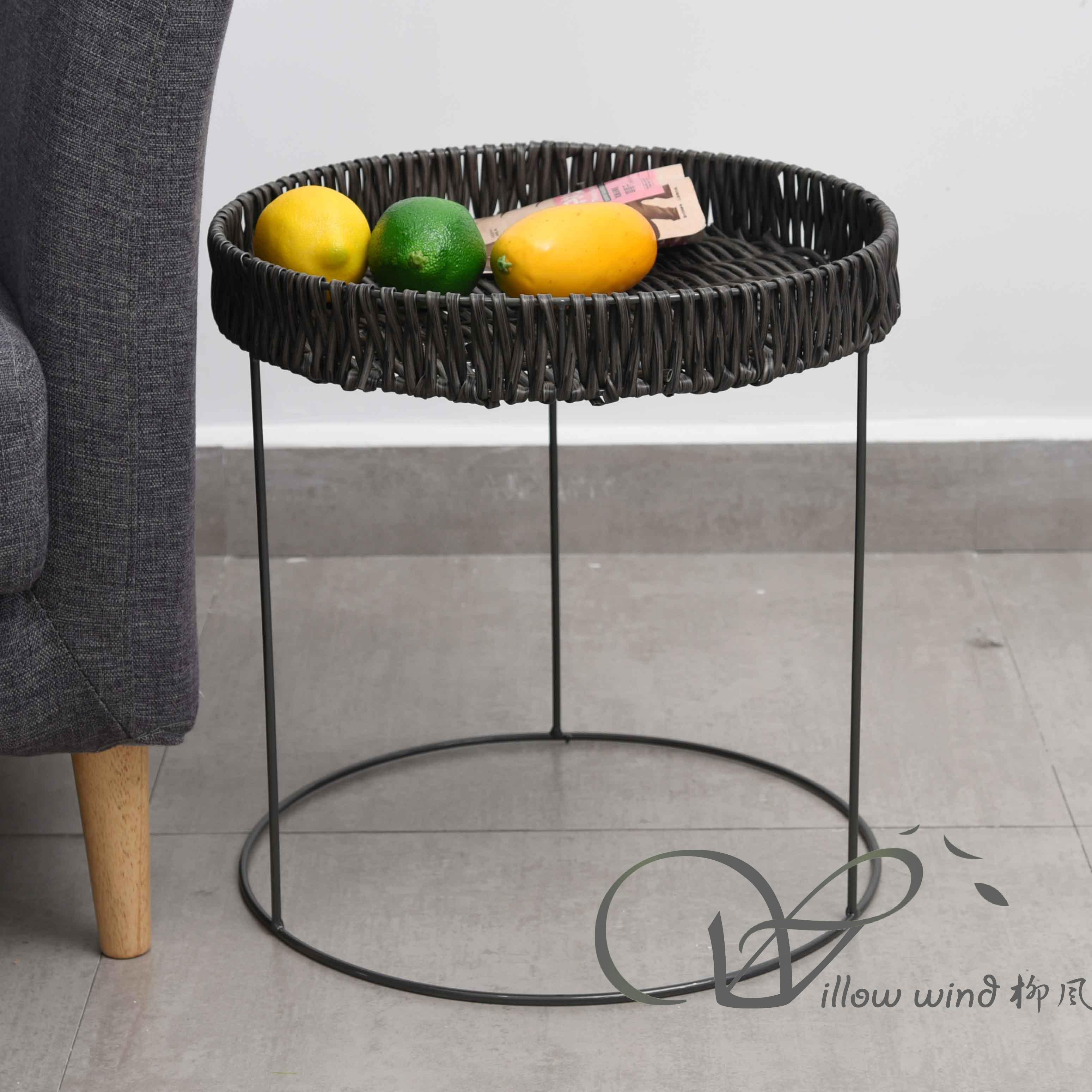 2 Pack Round End Table Imitation rattan top Coffee table Bed Side Table with Wrought Iron Support fv
