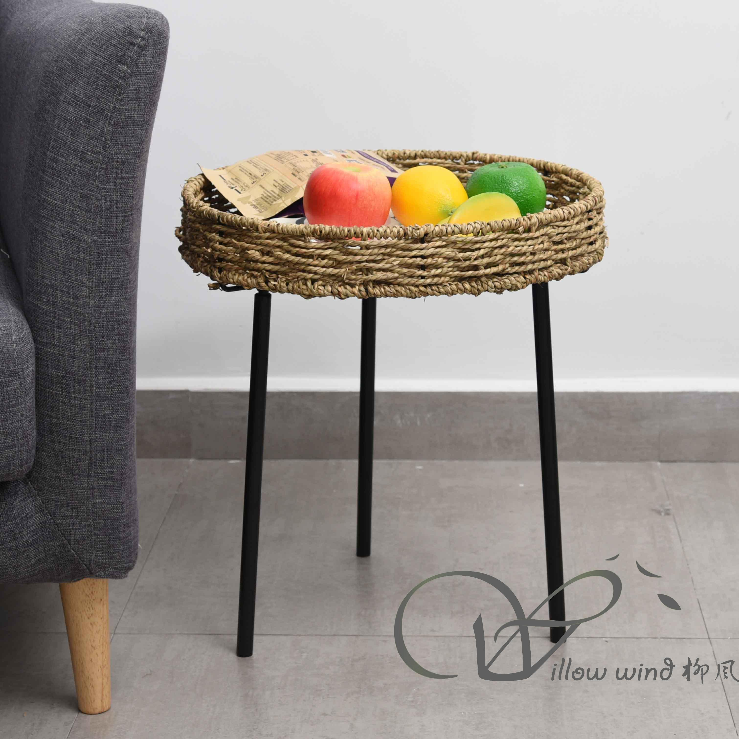 2 Pack Round End Table Sea grass top Coffee table Bed Side Table with Wrought Iron Support for Livin
