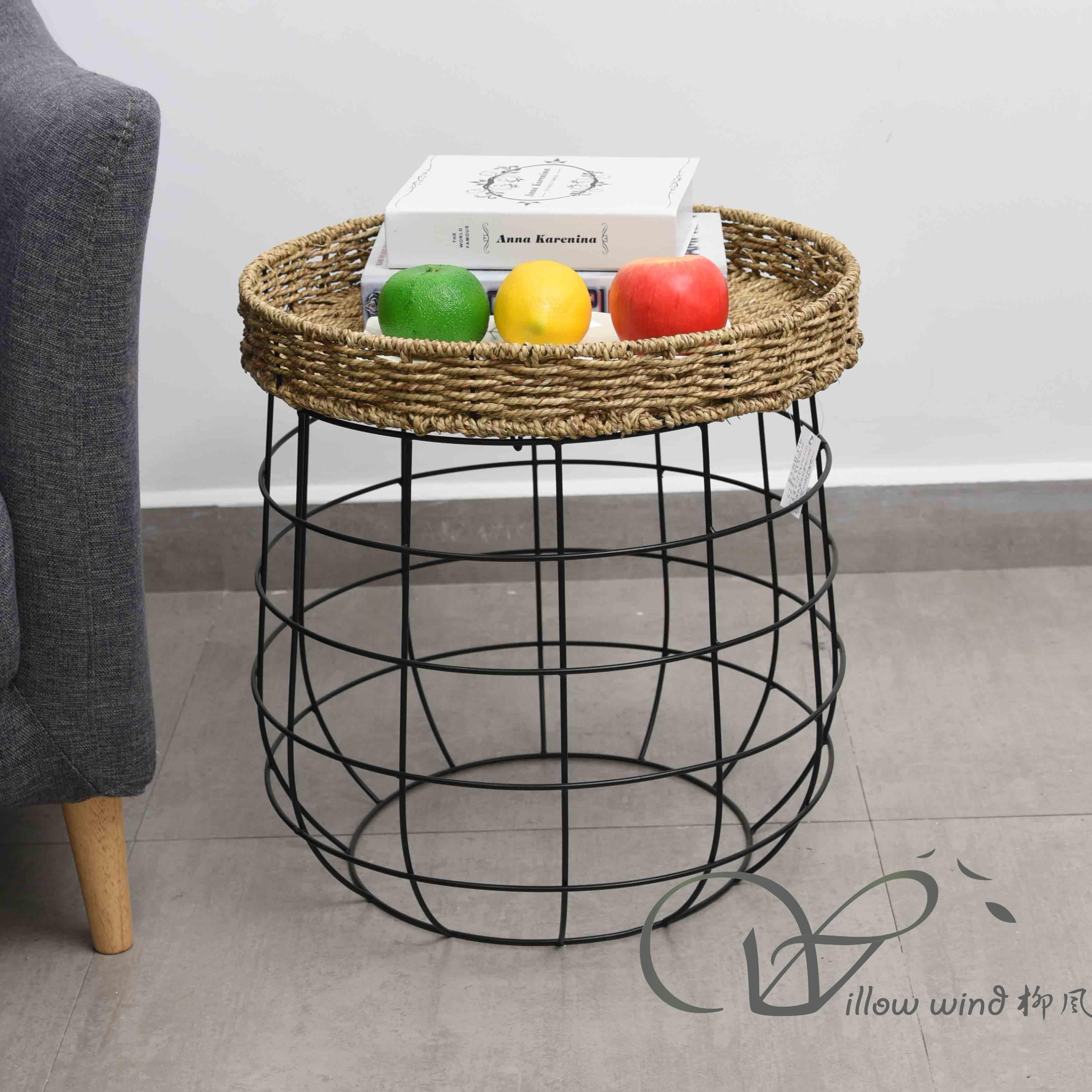 3 Pack Round End Table Sea grass top Coffee table Bed Side Table with Wrought Iron Support for Livin