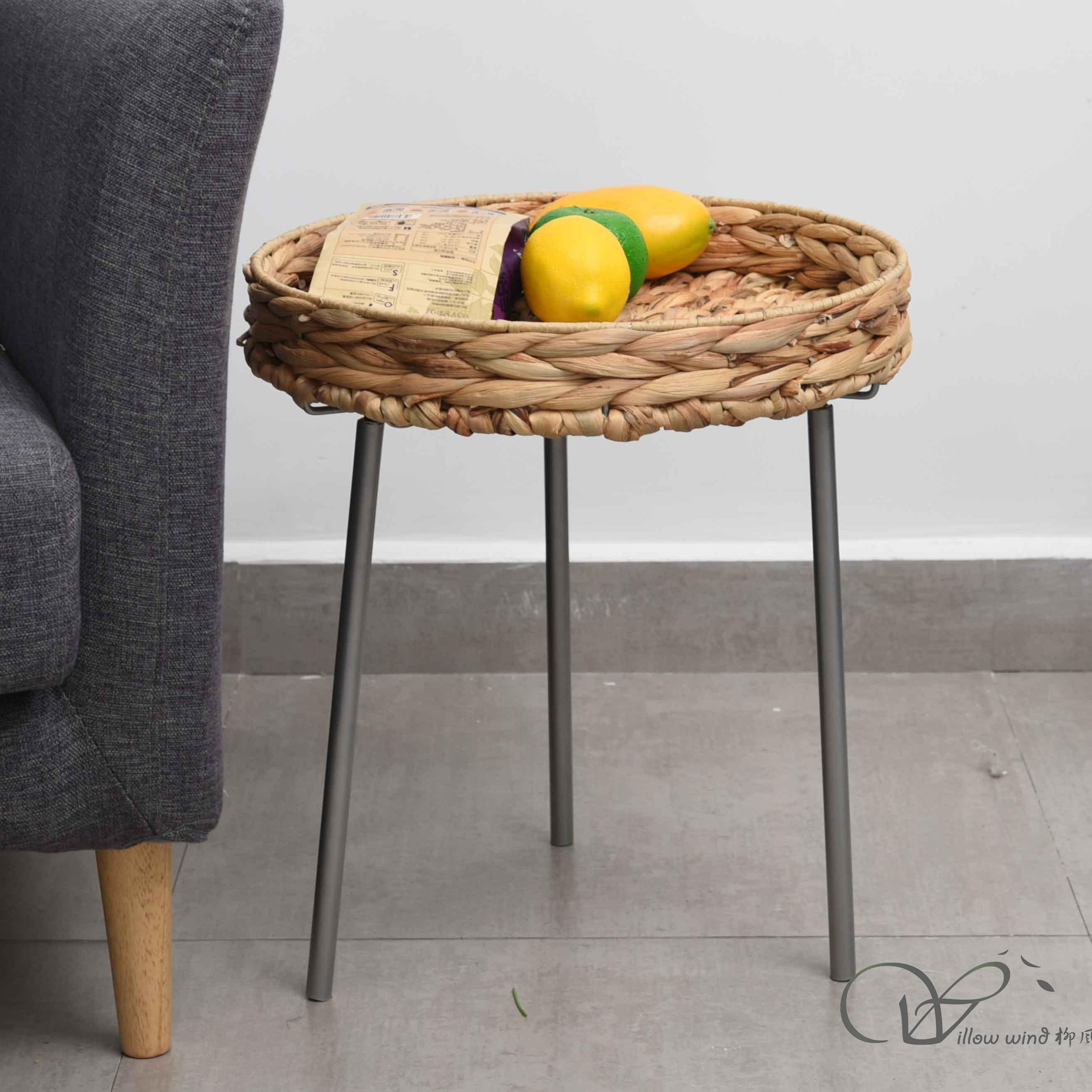 2 Pack Round End Table Water Hyacinth top Coffee table Bed Side Table with Wrought Iron Support f