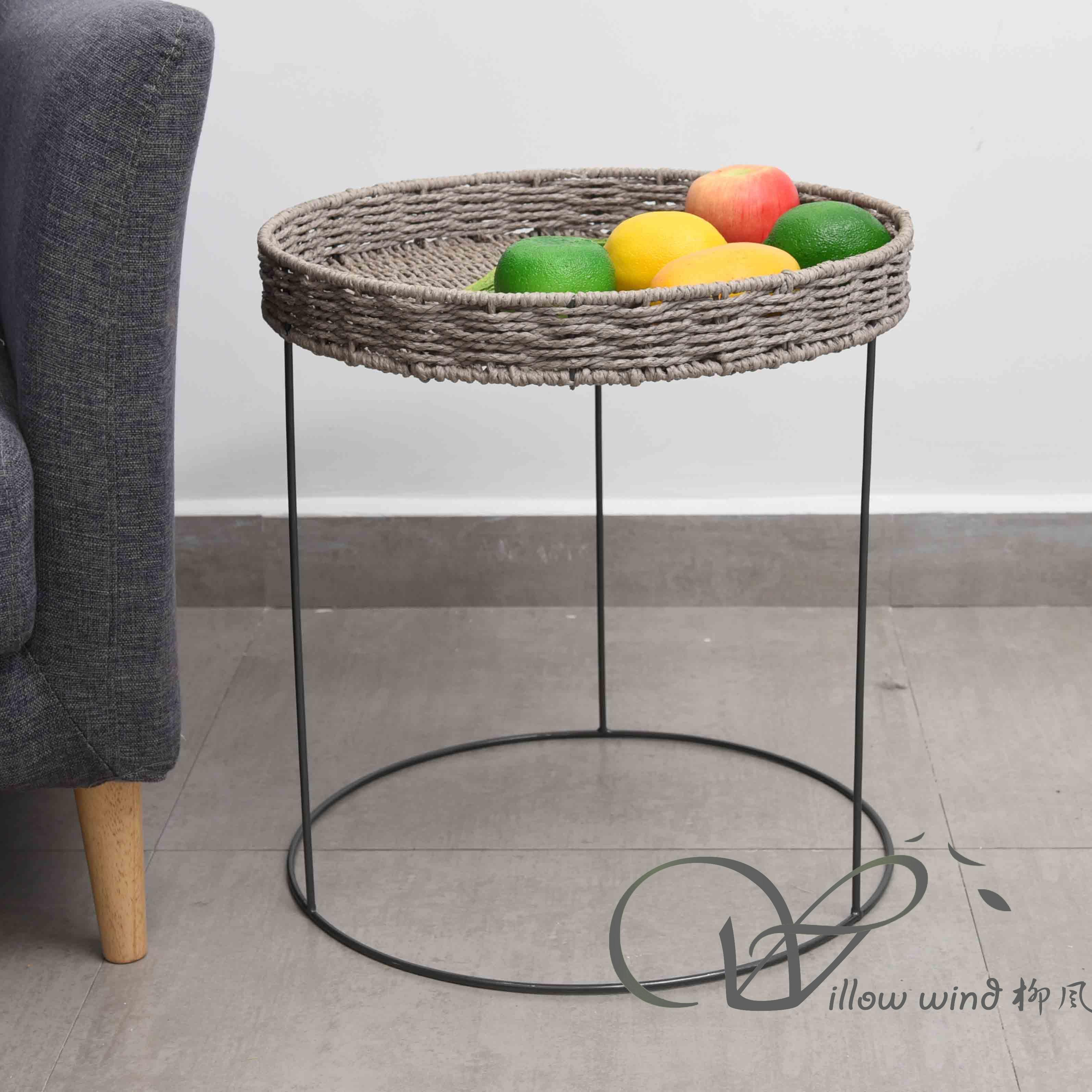 2 Pack Round End Table Paper rope top Coffee table Bed Side Table with Wrought Iron Support for Livi