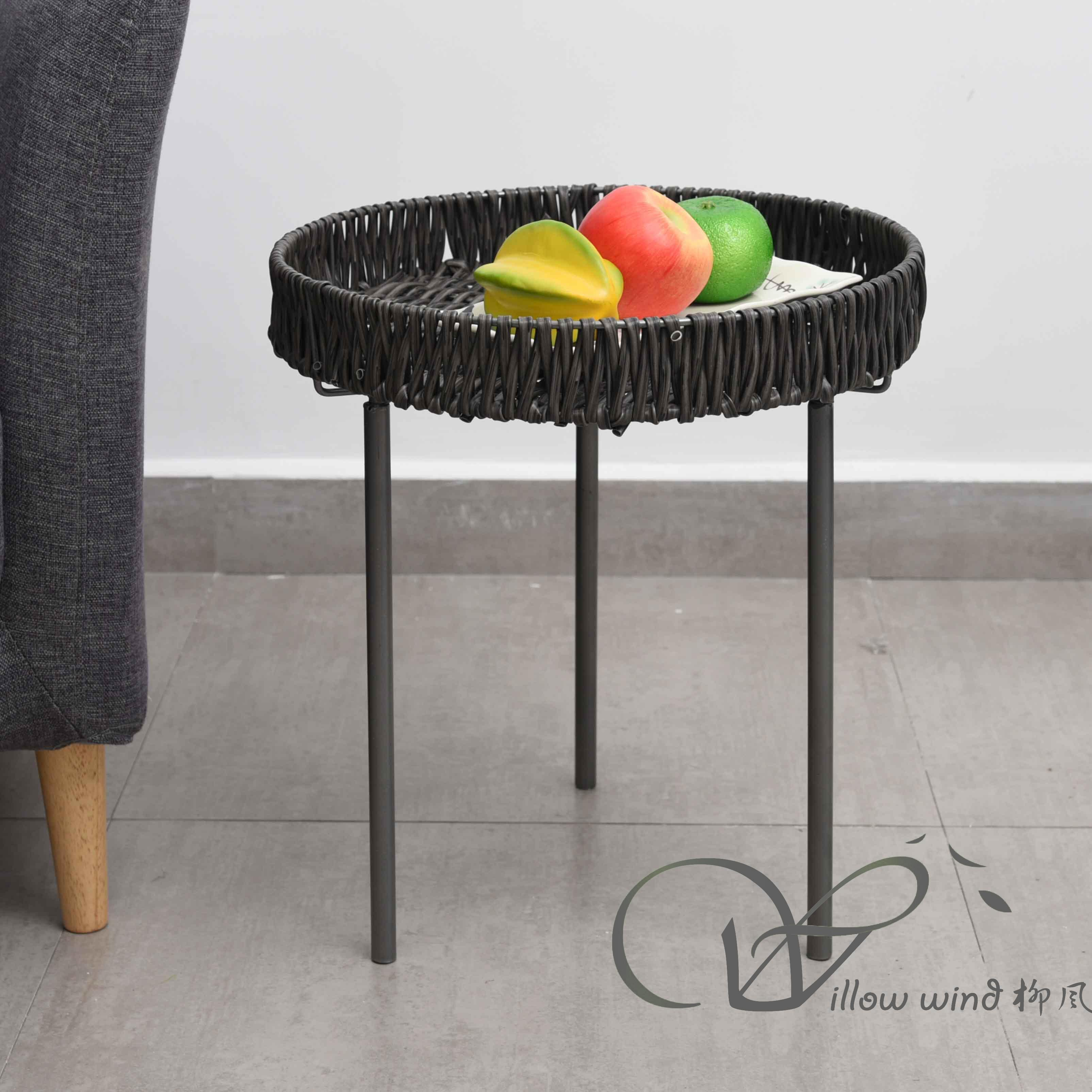 2 Pack Round End Table Imitation rattan top Coffee table Bed Side Table with Wrought Iron Support f