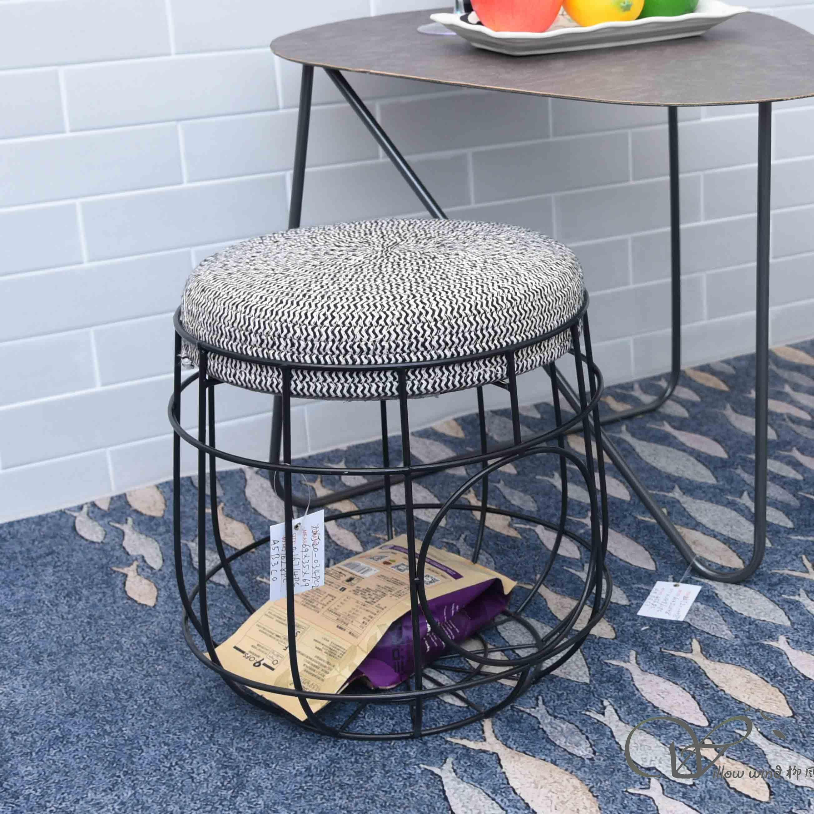 Round Cushioned Furniture Cotton Rope Footstool Ottoman with with wire storage legs