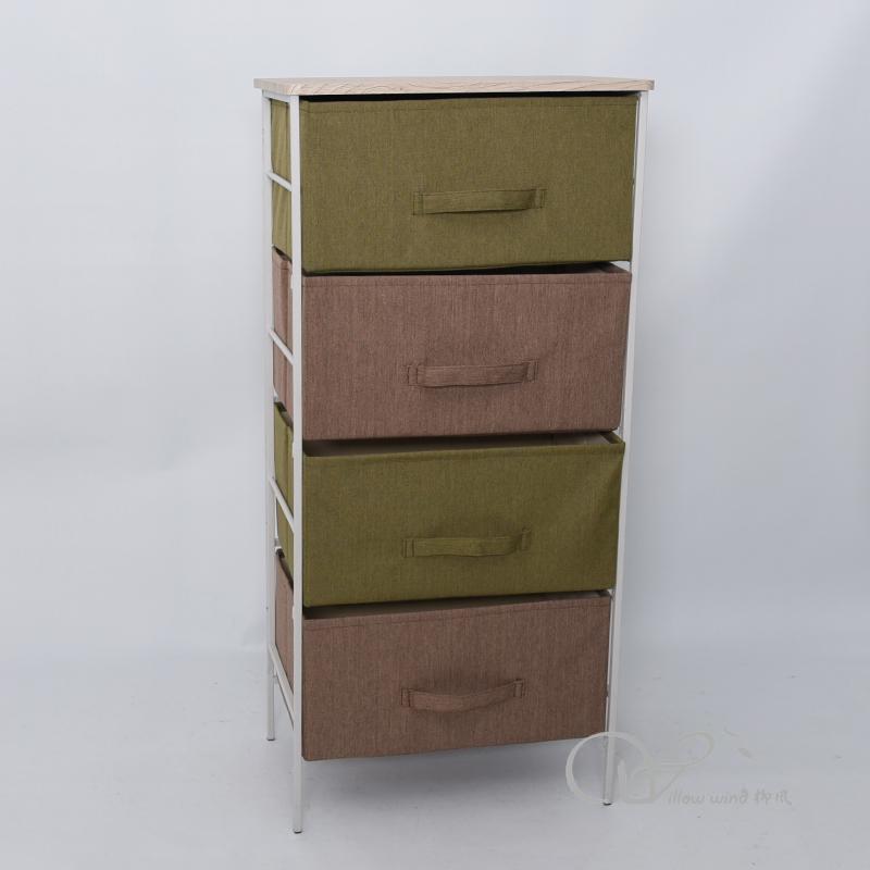 White Iron frame with foldable Storage box cabinet Floor Cabinet Iron Storage Cabinet Home Office Li