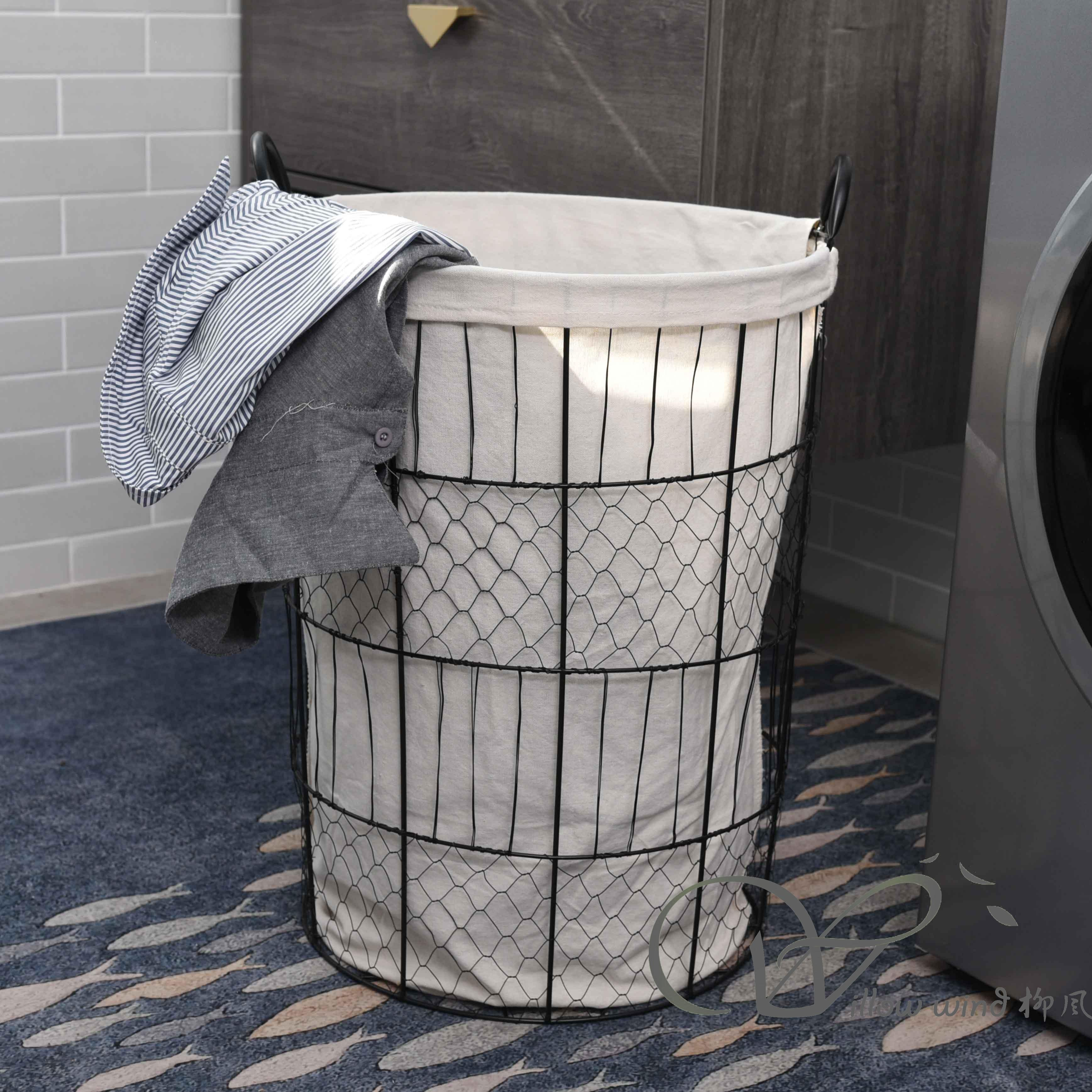 Black Round Wire storage basket Laundry Basket Metal Basket