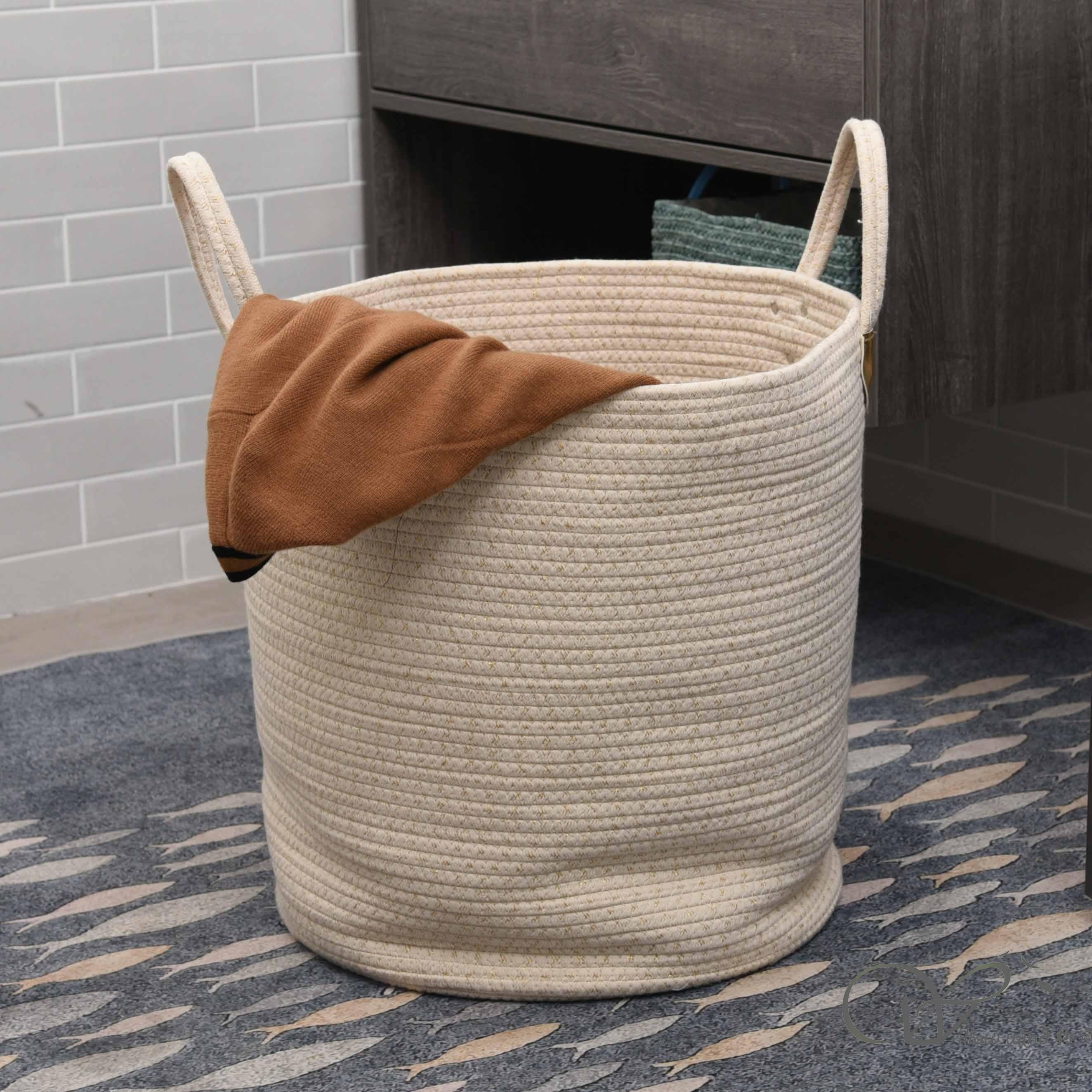 Off-white Natural cotton rope storage basket laundry basket hamper