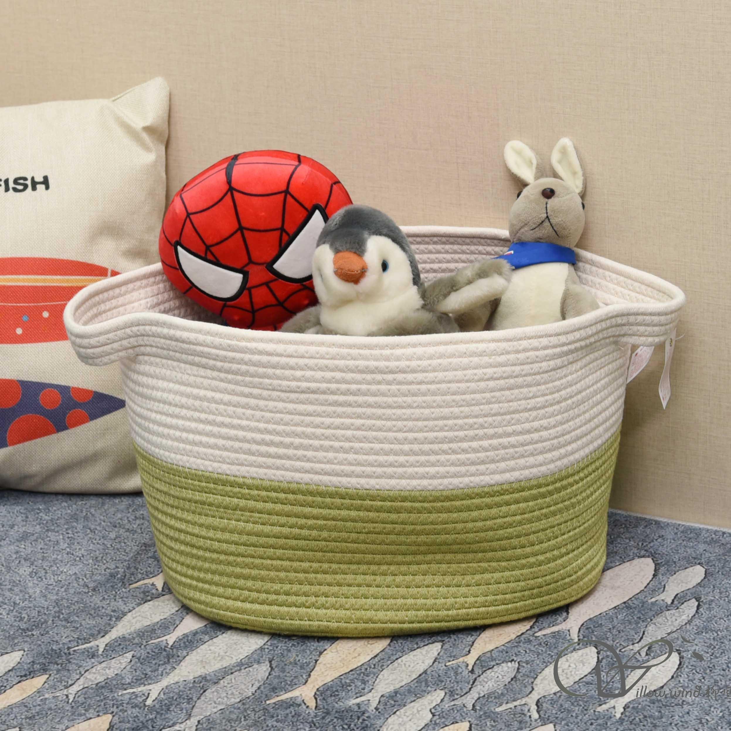 Off-white+green cotton rope storage basket bin box