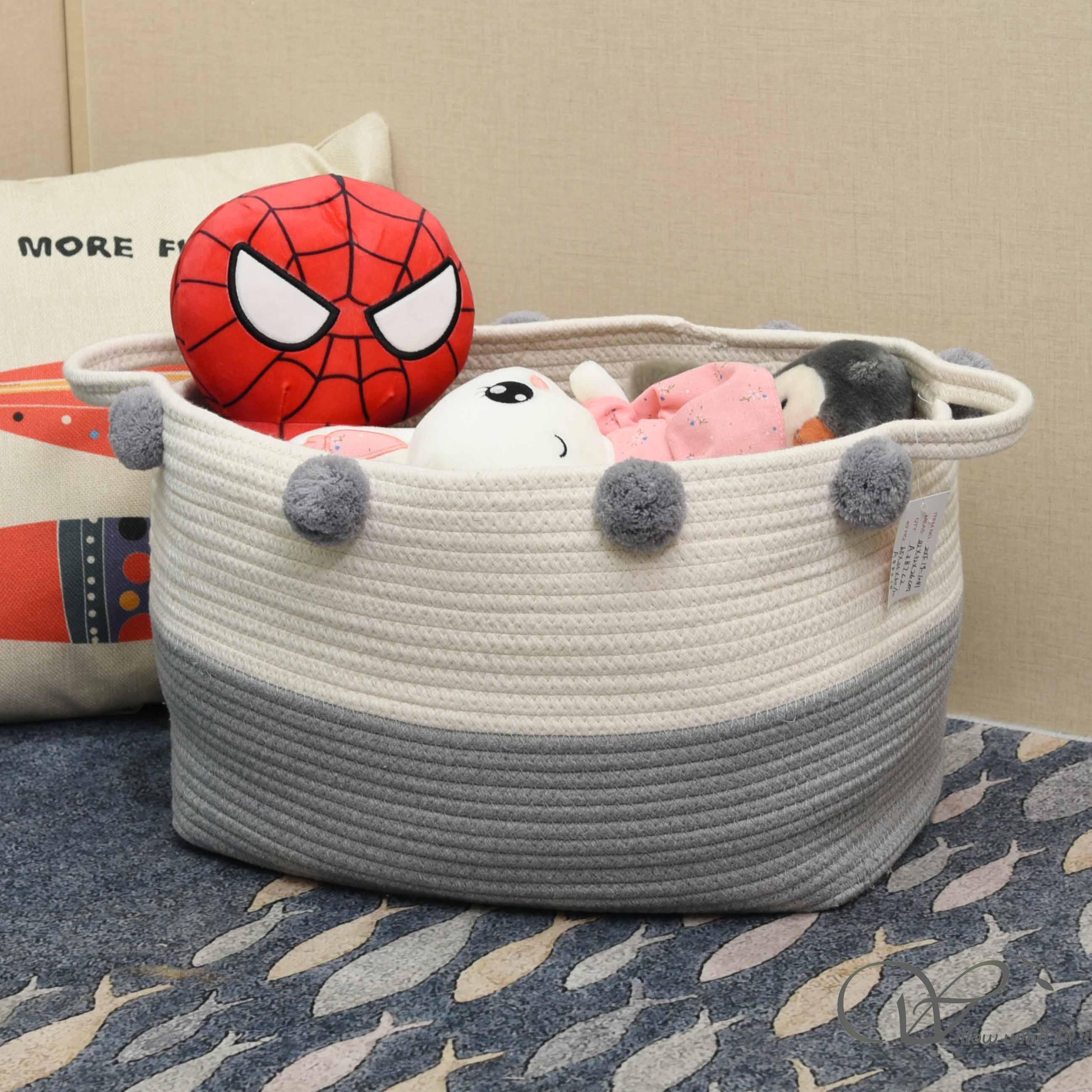Off-white Grey cotton rope storage basket Storage box
