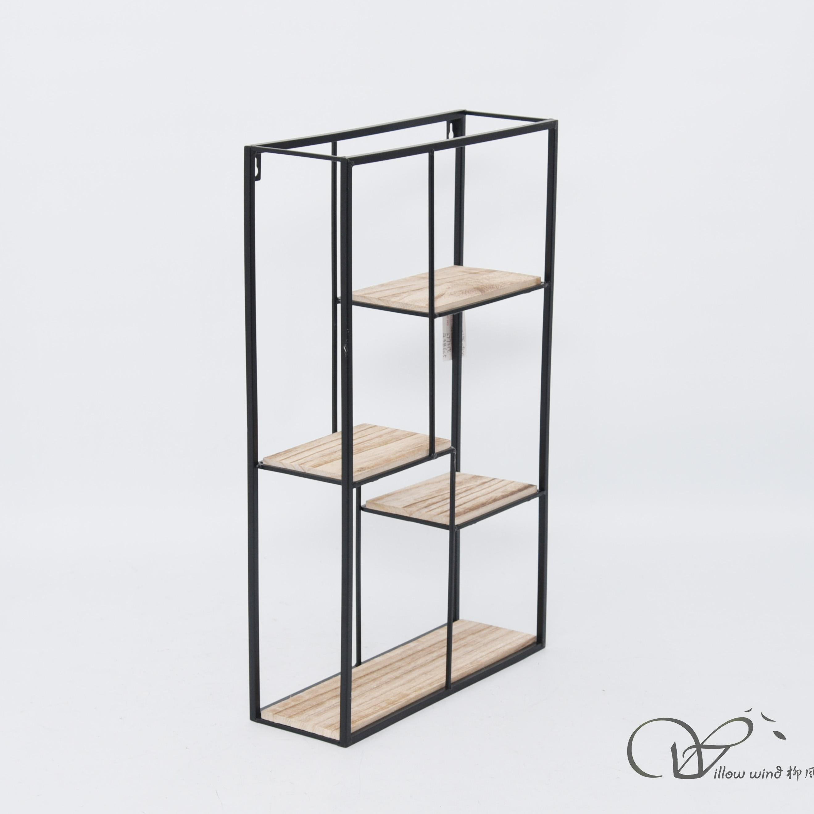 Black Rectangle wall hanging wire shelf
