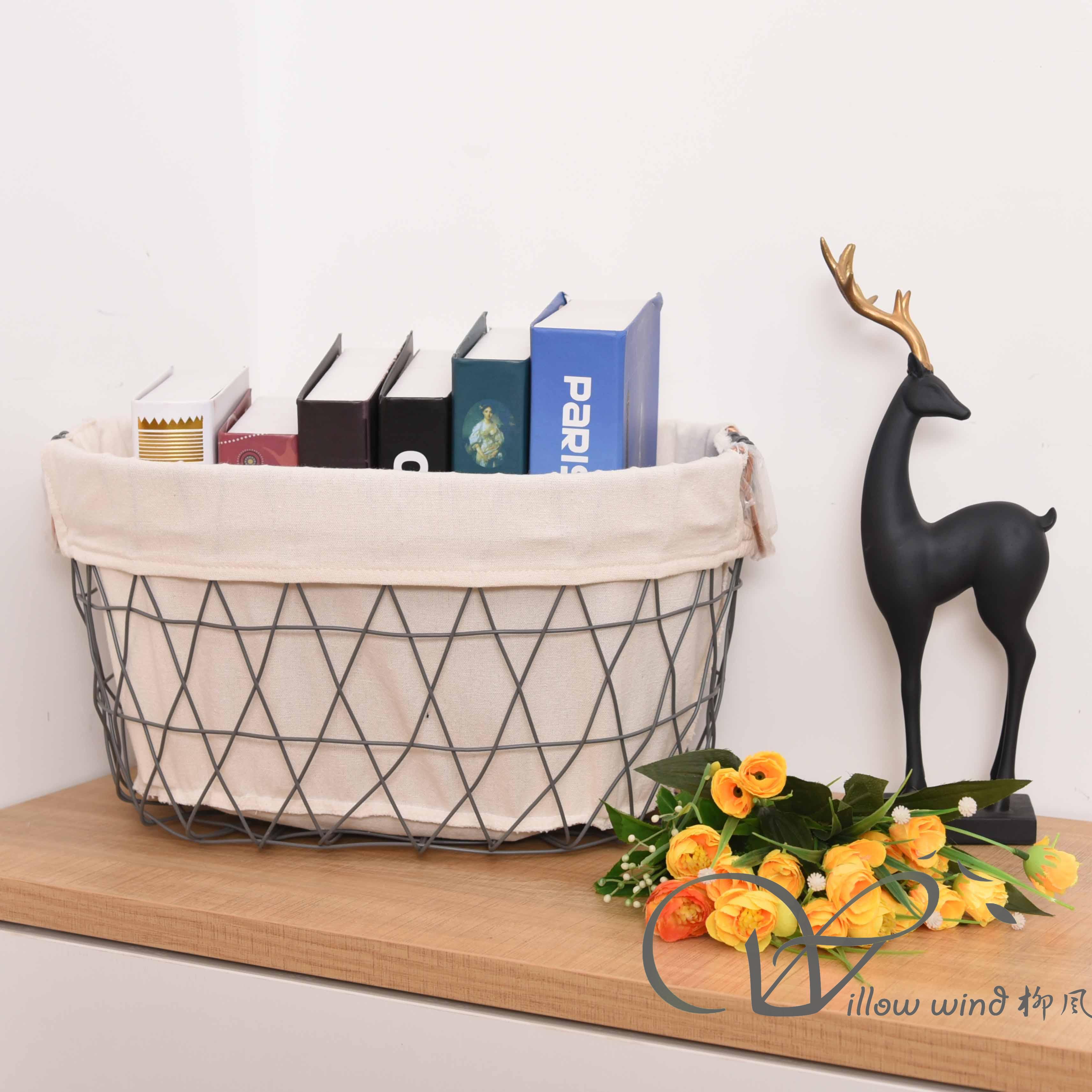 Grey Oval Wire storage basket Toy Basket Metal Basket