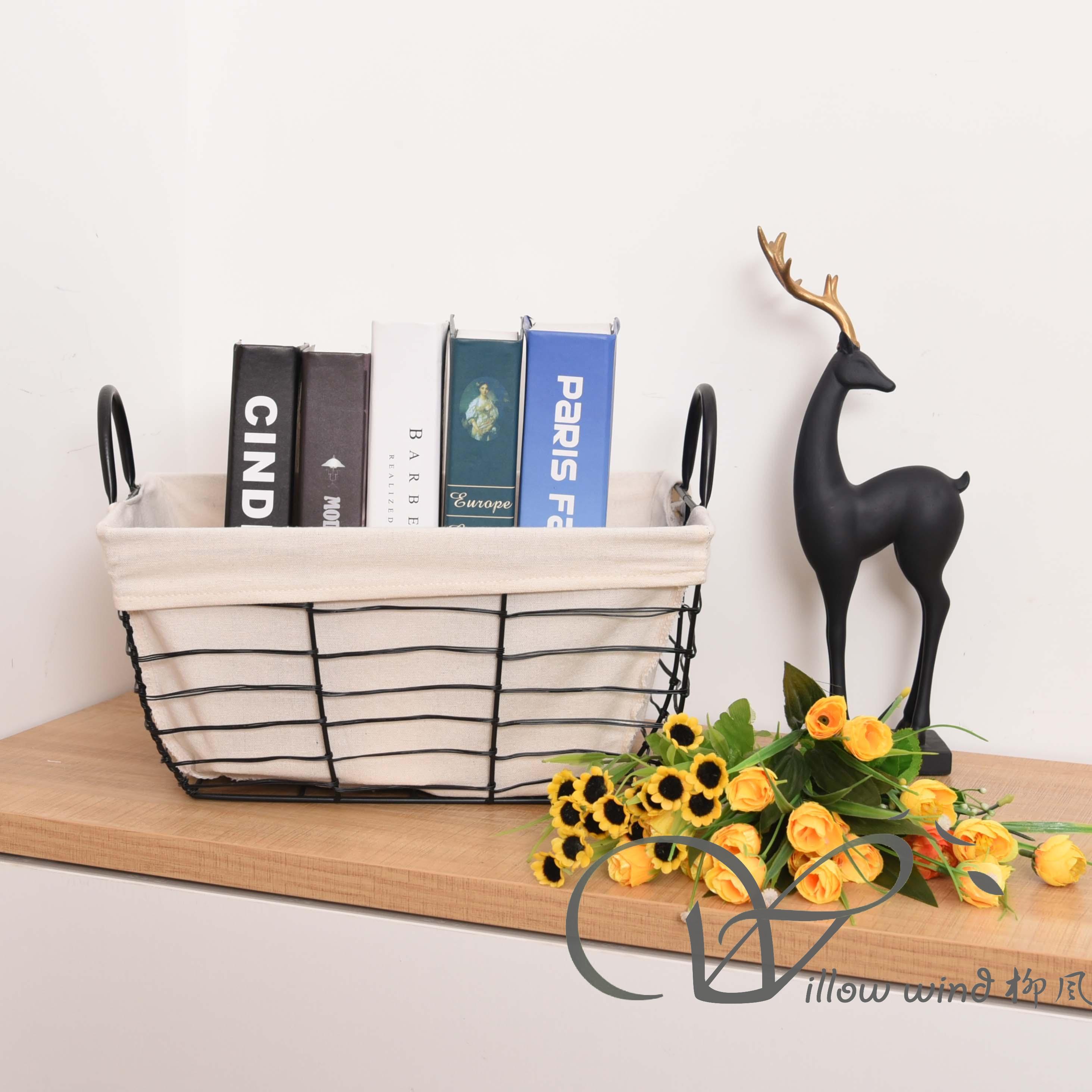 Black Rectangle Wire storage basket Toy Basket Metal Basket