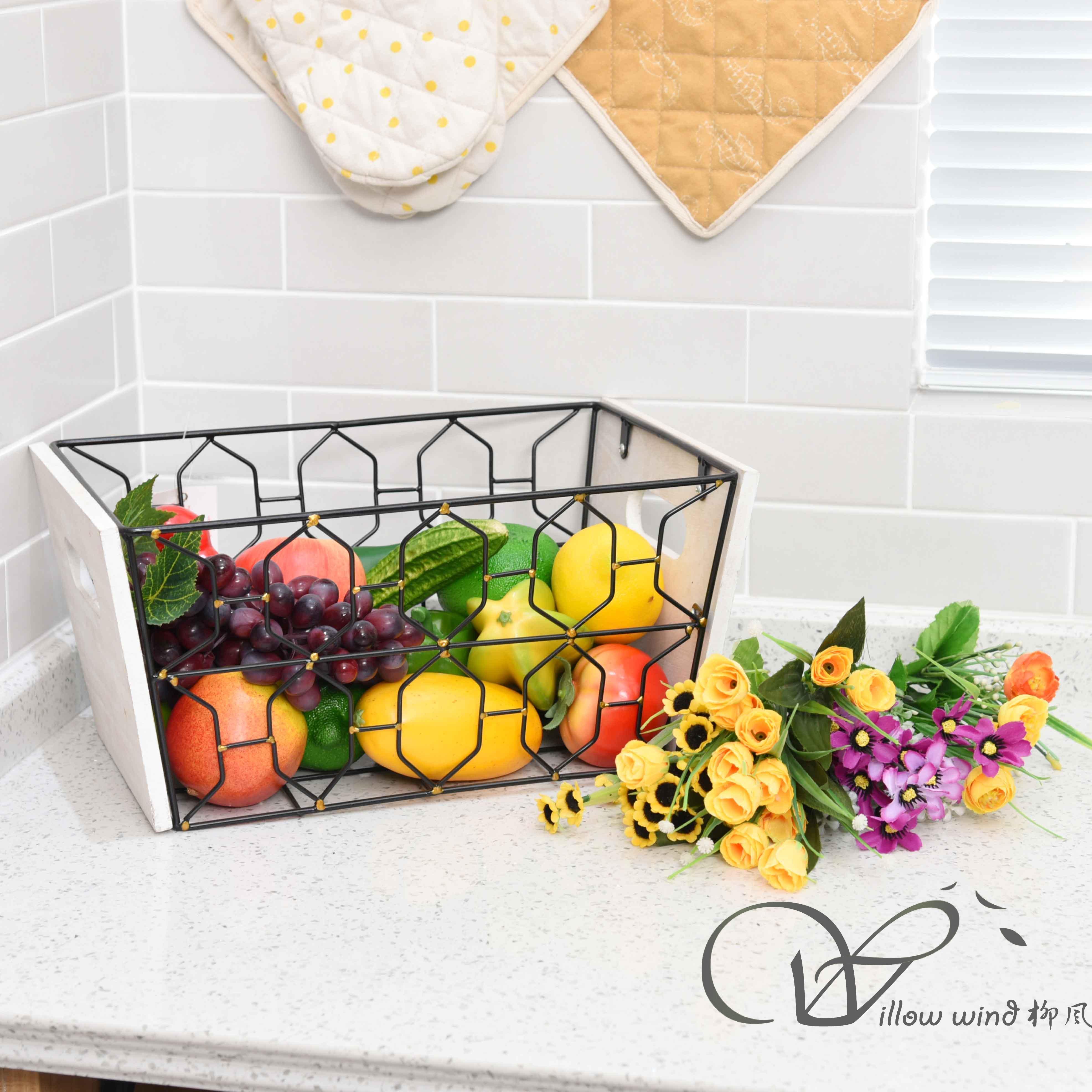 Black Rectangle Wire storage basket Toy Basket Fruit Basket
