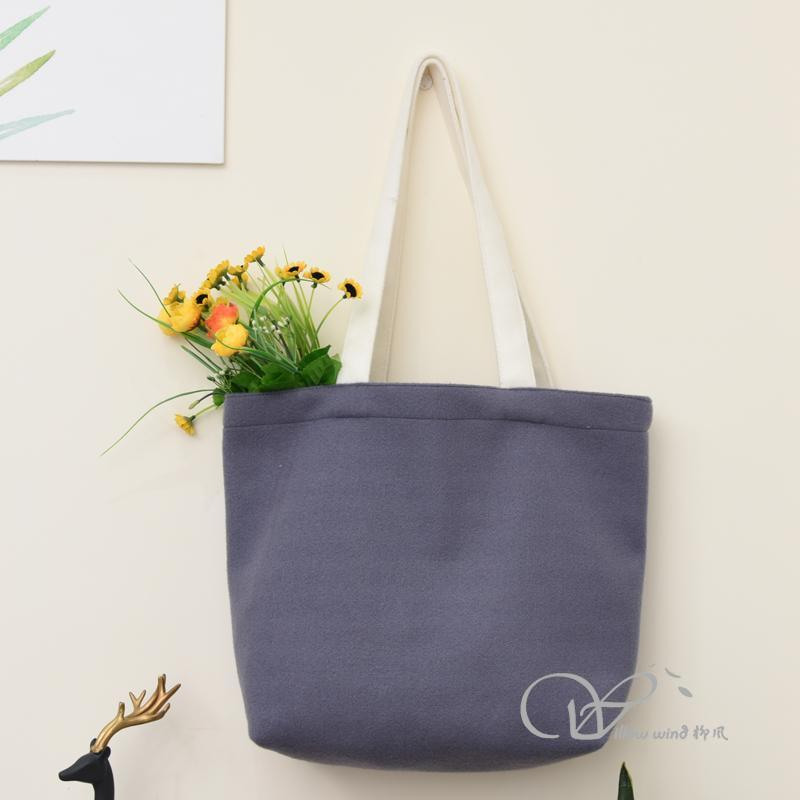 Grey rectangular Spacious Durable small woolen Bag Multi-function handle