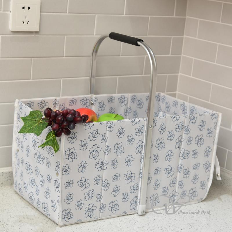 Collapsible Market Basket, Reusable Grocery Shopping Bag, Picnic Tote with Strong Aluminum Fram