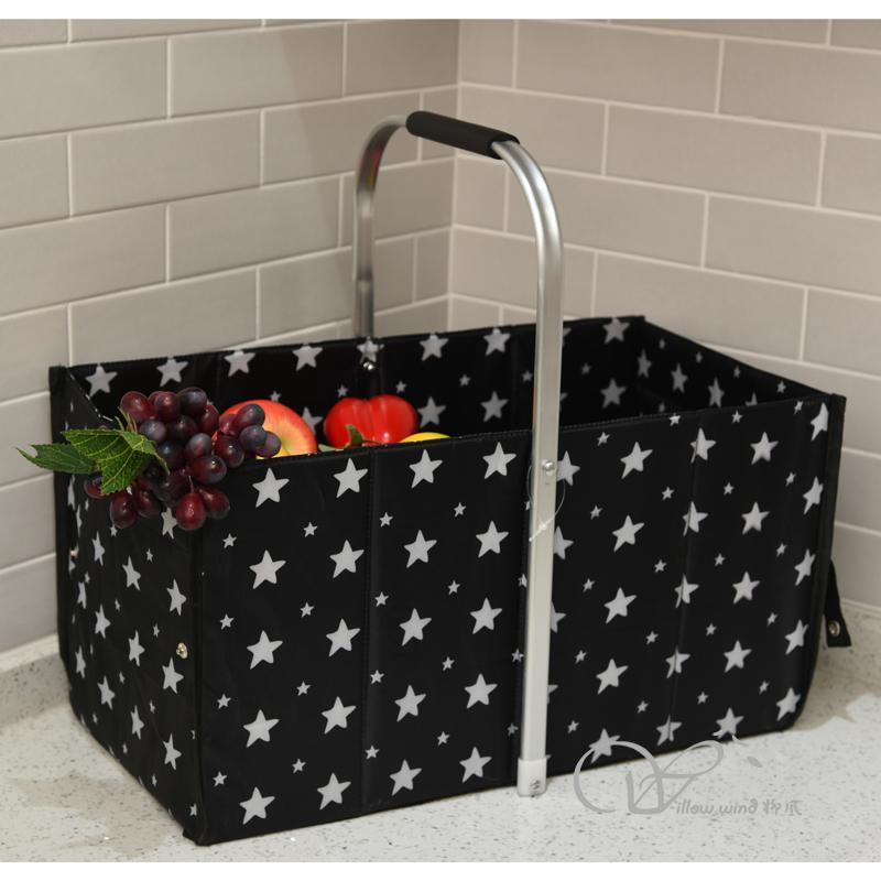 Collapsible Market Basket, Reusable Grocery Shopping Bag, Picnic Tote with Strong Aluminum Frame and